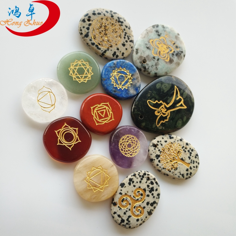 High quality engraved palm stones flat stone reiki healing set