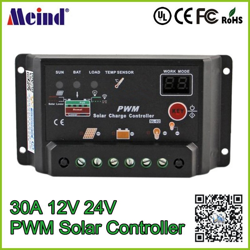 Digital PWM 30A Solar Charge Controller Regulator 12V 24V Auto-switch Solar Panel Amp with PWM Type of Charging