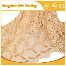 Sexy Champagne gold colour african cord guipure lace fabric for nigerian wedding party 2016