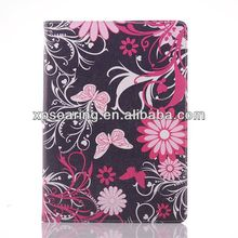 Hot Sale butterfly Leather Case for ipad 3 ipad 4 with card slots
