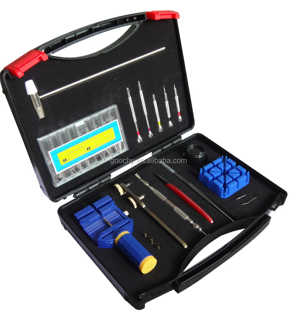 Plastic Case 19pcs Watch Repair Tool Kit with Spring Bar Watch Band Remover Tools