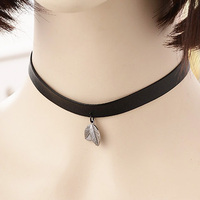 PU leather Lock Necklace Short paragraph Leaves Pendant necklace August1608200954