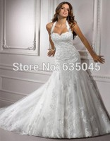 2015 New Custom Made BacklessTulle Applique Beading Crystal A-Line Lace Wedding Dress Bridal Gowns