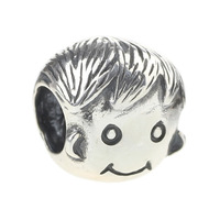 Wholesale Mom's Happy Boy Bead 925 Sterling Silver Charm Family Jewelry for European Bracelet