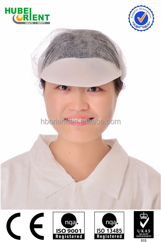 Surgical Non Woven White Mesh Peaked Bouffant Cap for Food Industrial