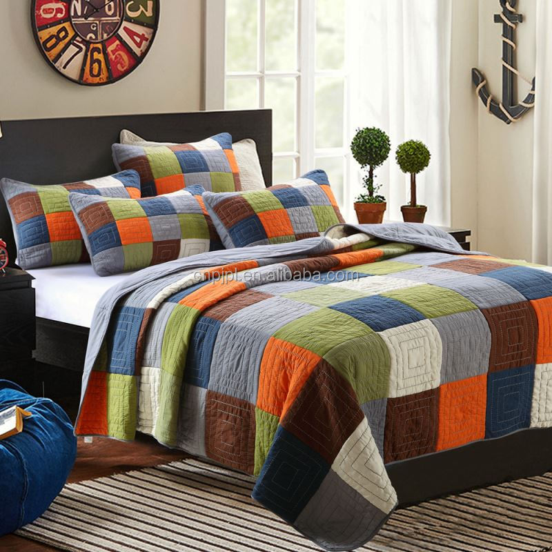 Top fashion OEM design bed sheet patchwork quilt with different size