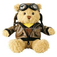 Custom logo pilot plush bear animal toys with uniform