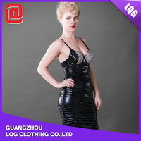 Wholesale price PU leather sexy club wear shiny pvc dress