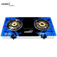 India Style burner Tempered Glass ,Double burner Gas Cooker BW-XK2017