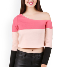 Long sleeve fashion women pink color blocked one shoulder crop top t-shirts