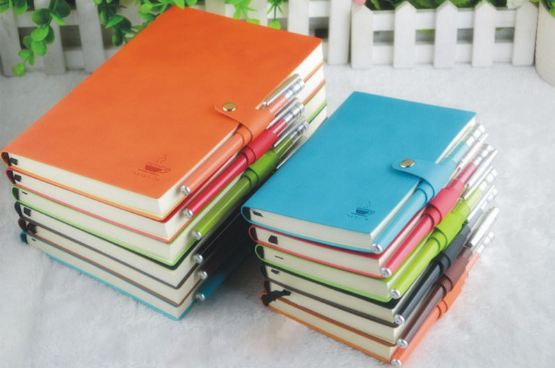 high quality PU leather soft cover fancy notebook with pen attached