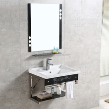 Modern wall mounted bathroom cabinet wash basins ceramic sanitary ware mirrored sink with stainless steel