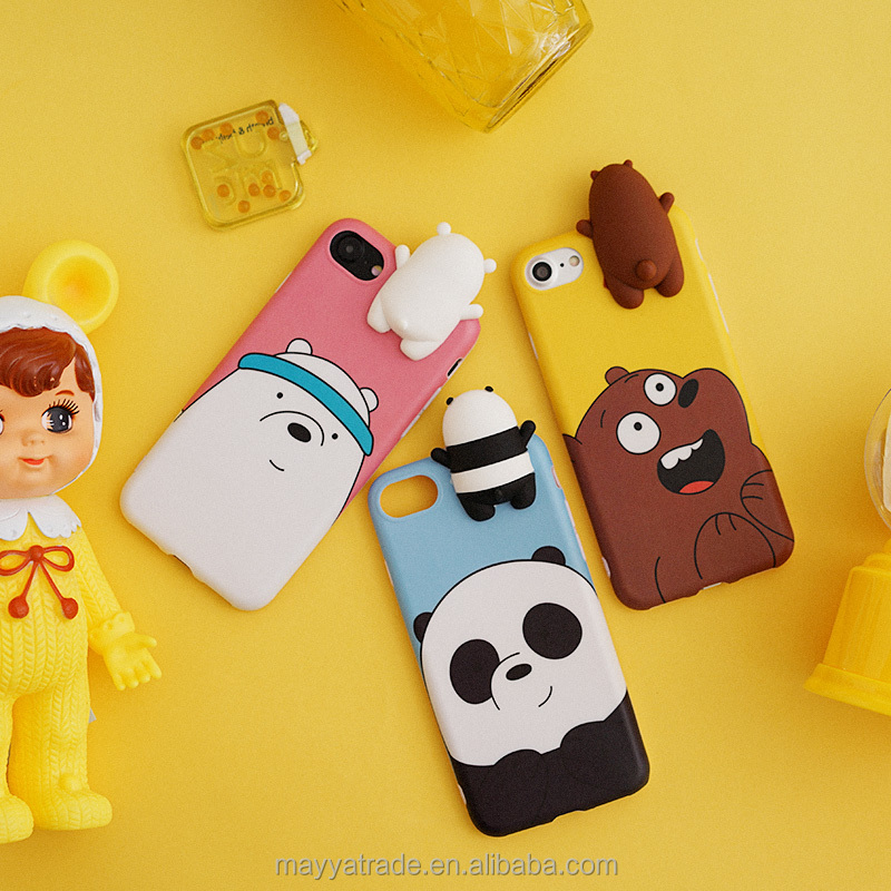 3D Animal Bear Shape Flexible Silicone Phone Case Cover for iphone7 7Plus