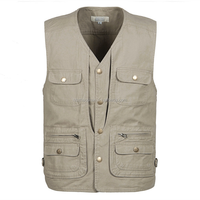 Factory Promotional Fishing Photography Sleeveless Vest Multi-pocket Men Cotton Working Vest