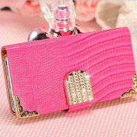 For Apple Iphone 5 5S PU leather lizard grain wallet hard diamond case
