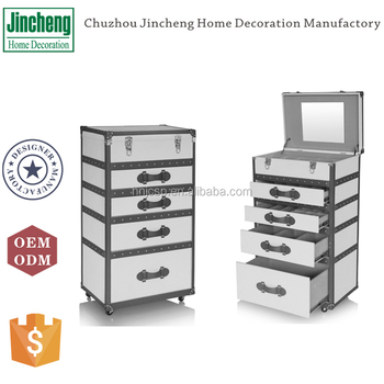 New arrival white gray faux leather bedroom chest of 4 drawers dresser cabinet