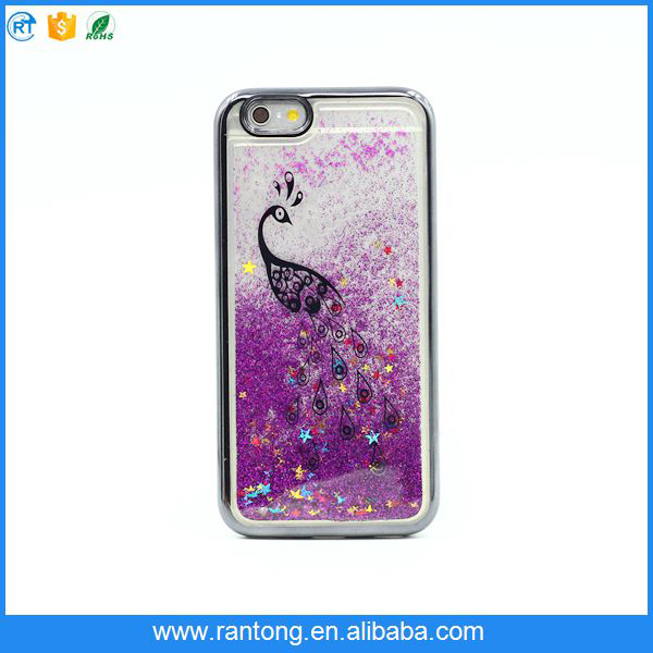 high quality electroplating liquid quicksand cell phone cover for girls