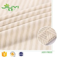 stock Factory green stripe colored recycle 100% organic interlock cotton fabric jersey stripes