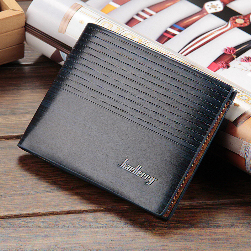 Wholesale newest men's short wallet high quality learther money bag baellerry leather billfold for man