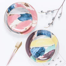 Restaurant breakfast rainbow tableware round handmade wedding ceramic <strong>plate</strong> with gold rim