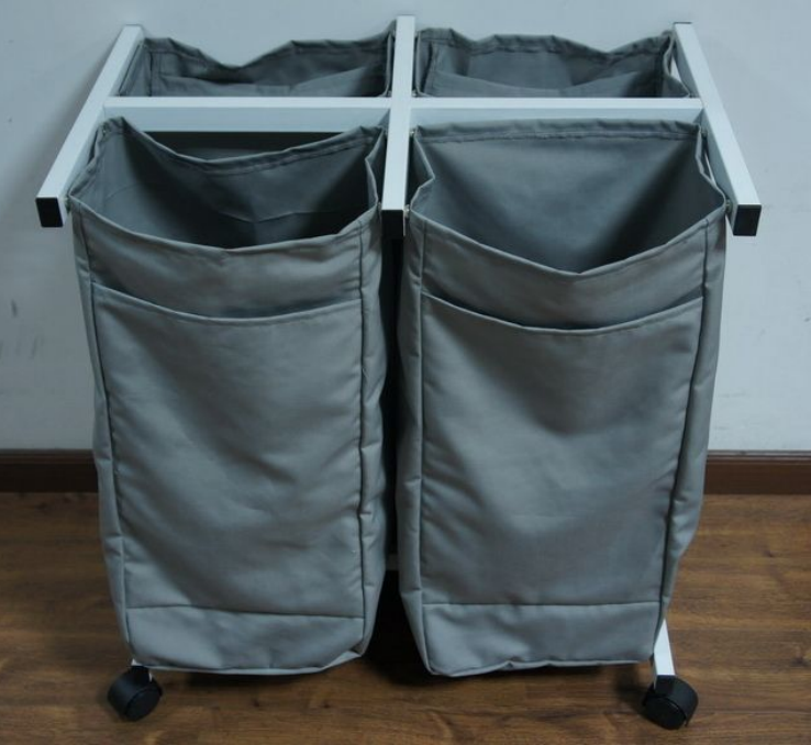Attractive Price Store More 2 Bag Rolling Laundry Sorter Heavy-duty Laundry Hamper Cart