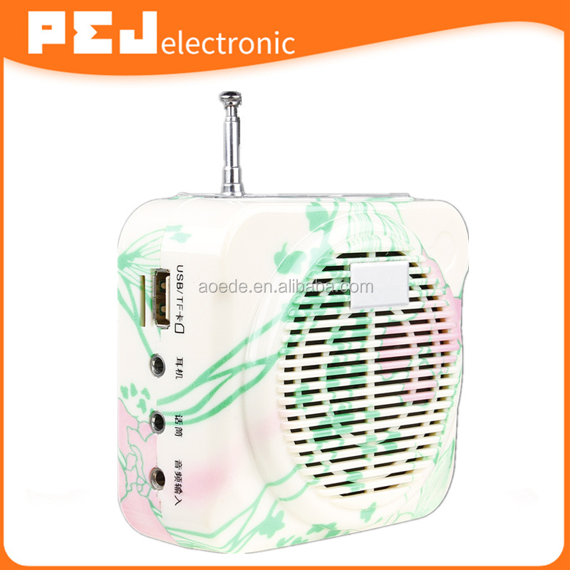 Wired/Wireless Portable Voice Amplifier,FM radio, TF USB mucis playing pocket fm radio with headset mcirophone Loud speaker