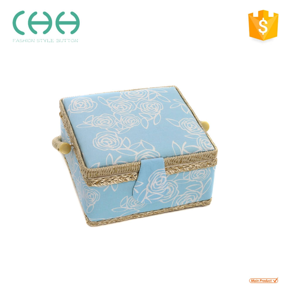 2018 newest girls cute wooden fabric storage sewing tool box