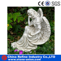 Life size carved marble Sitting Angel sculpture