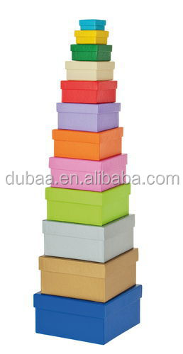 Gift Box Set,12 Assorted Sizes Aquare Col.Square Nested Boxes - Matte - 12 pc Set - 12 Piece Set