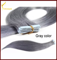 Wholesale Virgin brazilian Remy Human hair Straight Brazilian Cheap gray color tape hair extension