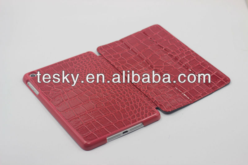 many color in stock 3 fold crocodile line pu leather case for mini ipad