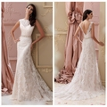 pink lace backless A-line crochet wedding dress