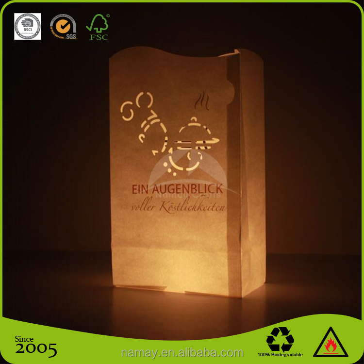 Cheap white color fire-retardant luminary paper candle bags