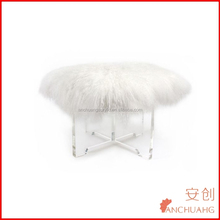 lucite leg vanity stool with white Mogolian wool fur