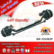 6x4 Daewoo Truck Trailer Front Wheel Steerable Axle with Disc Brakes