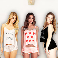 Spring Summer Style Womens Pajamas Smiling Face Sexy Nightwear