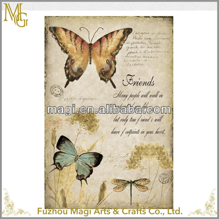wholesale square Frame less Handmade Butterfly art oil painting on canvas