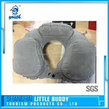 PVC flocking 3 bags inflatable shoulder support backrest travel pillow support in car airline