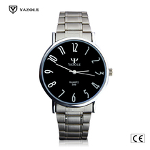 299-S Yazole Luminous Fashion Superb Thin Compact Wristwatch Watches Men Stainless Steel Back