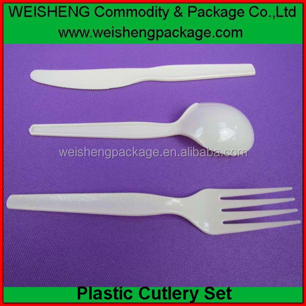 white color disposable plastic cutlery sets airline packing Disposable heavy duty cutlery set