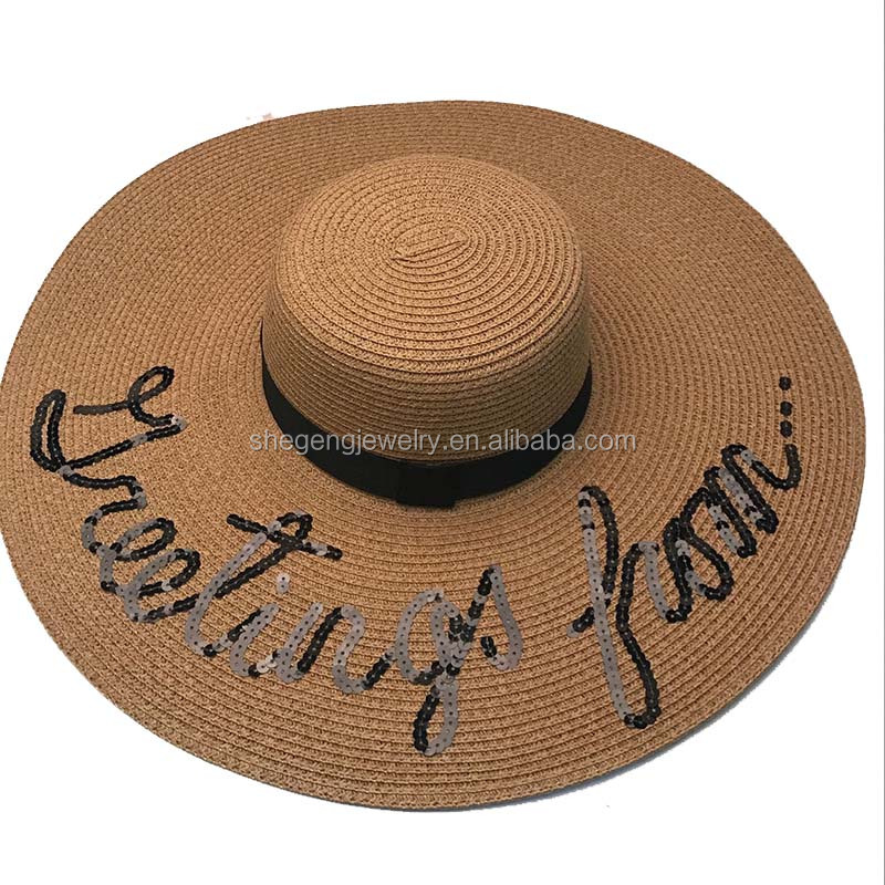 "Summer Straw Sun Hat Women Letter ""greeting from"" Sequin Bohemia"