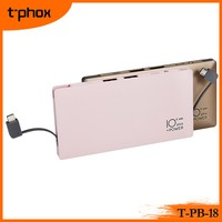 t-phox t-pb-18 10000mAh lithium-ion polymer ABS+Aluminum shell mobile phone battery charger power bank with charging cable