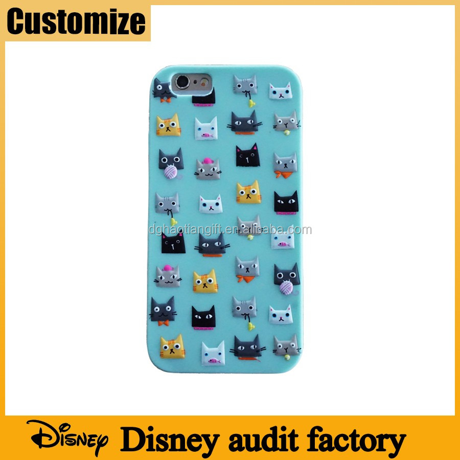 Social compliant Disney audit factory eco-friendly silicone rubber customize 2D embossed printed cell phone covers and cases