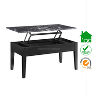 CT-2266 modern black high gloss lift coffee table with faux marble top
