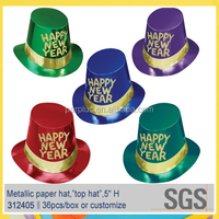 Glittered Happy New Year Foil Paper Hat for party decoration