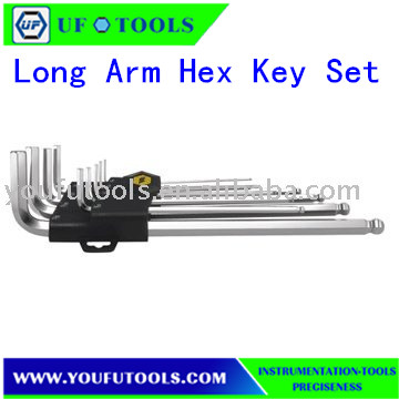 UF-0620L 9Pcs Alloy Mini Ball Point Long Arm Hex Key Set