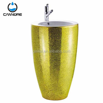 Chaozhou modern design floor standing sanitary ware color wash pedestal basin