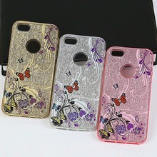 mobile phone cover for honor v8 ,flower printing with diamond hybrid hard bling pc+silicone tpu phone cover case