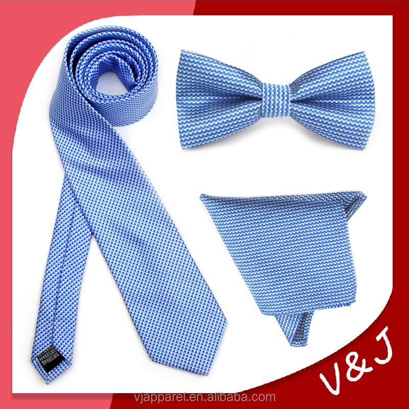 Party Silk Solid Wedding Men Necktie Tuxedo Bow Tie Pocket Square Set