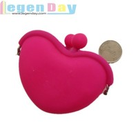 Fashion heart-shaped Silicone wallet purse for coin&money&carry articles